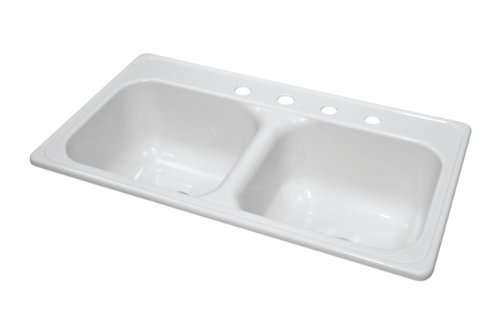 Lyons Industries DKS01J4-3.5 White 33-Inch by 19-Inch Manufactured/Mobile Home Acrylic 9-Inch Deep Kitchen Sink, Four Hole by Lyons Industries by Lyons Industries