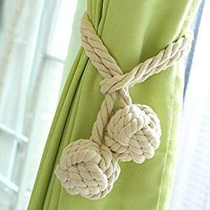 Beige Do4U A Pair of Hand Knitting Curtain Rope Tiebacks Curtain Tieback Holdback Curtain Tie Back with Single Ball