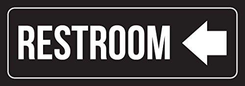 Black Background with White Font Restroom Left Arrow Outdoor & Indoor Signage Plastic Door Sign (3x9) - 2 Pack