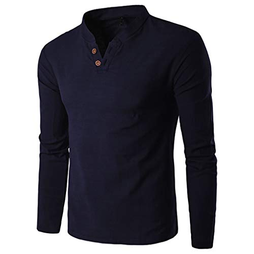 (Pervobs Men's Basic Solid Long Sleeve Splicing V-Neck Button Henry T-Shirt Top Blouse(XL, Navy))