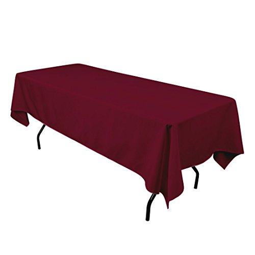 Gee Di Moda Rectangle Tablecloth - 60 x 84 Inch - Burgundy Rectangular Table Cloth for 5 Foot Table in Washable Polyester - Great for Buffet Table, Parties, Holiday Dinner, Wedding & More]()