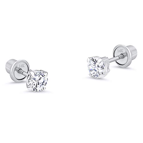 14k White Gold 2mm Basket Round Solitaire Cubic Zirconia Children Screw Back Baby Girls Earrings
