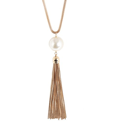 ELEARD Statement Pearl Pedant Necklace Box Chain Drop Tassel Pedant Snake Neck Chain for Women (Pearl Neck Chain)