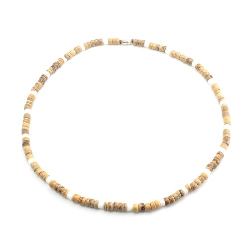 5mm Light Brown Coco Bead Hawaiian Necklace with White Puka Shell Accents, Barrel Lock (18 IN)