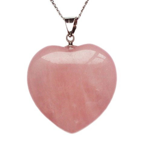 Pink Rose Heart - Rose Quartz Crystal Pendant Necklace, Puffy Heart Shape, with 18