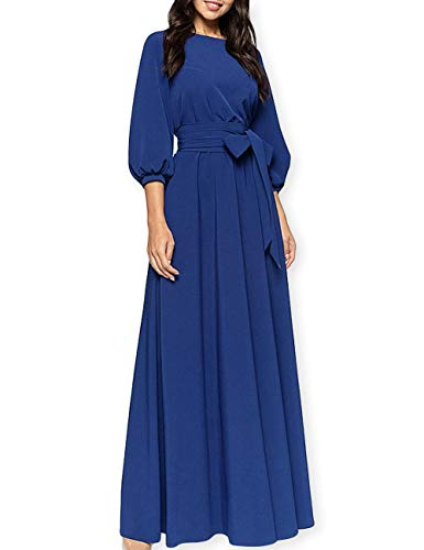 AOOKSMERY Women Elegance Audrey Hepburn Style Round Neck 3/4 Puff Sleeve Puffy Swing Maxi Dress with Belt (Sapphire Long, Medium)