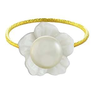 Vera Perla 18k Gold, 7mm White Pearl Flower Shell Ring