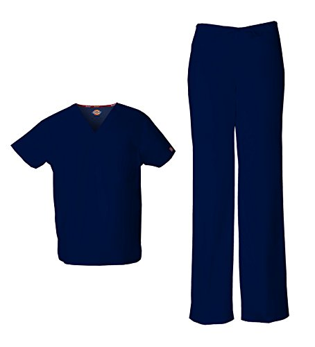 Dickies EDS Signature Unisex Scrub Set (Large, Navy) (Twill Signature Stretch Pants)