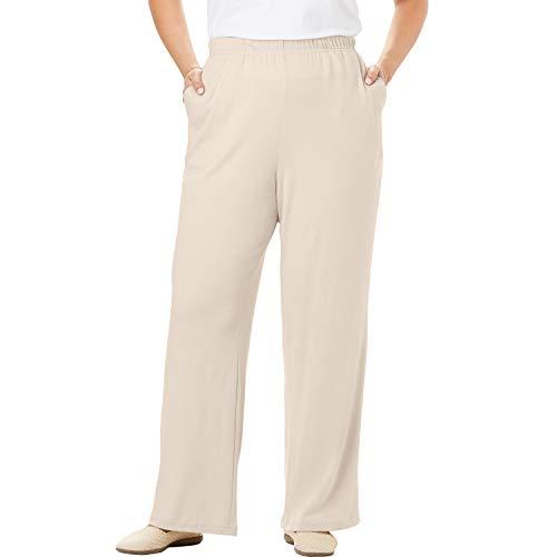 Woman Within Women's Plus Size Tall 7-Day Knit Wide Leg Pant - Natural Khaki, S
