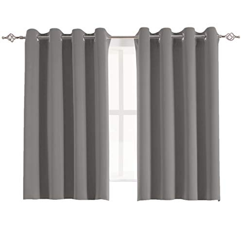 Aquazolax Solid Blackout Curtains for Bedroom Thermal Insulated Top Eyelets Blackout Window Curtains/Drapes for Office, 2 Panels, 54