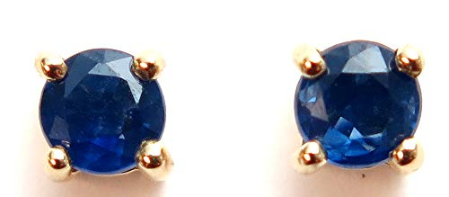 KWM 14K Gold Round 4 Prong Sapphire Stud Earrings, yellow-gold
