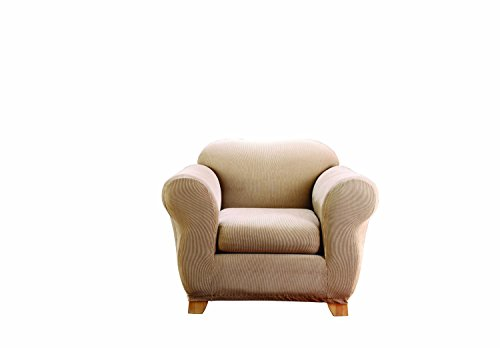 Sure Fit Stretch Stripe 2-Piece - Chair Slipcover  - Sand - Stretch Box