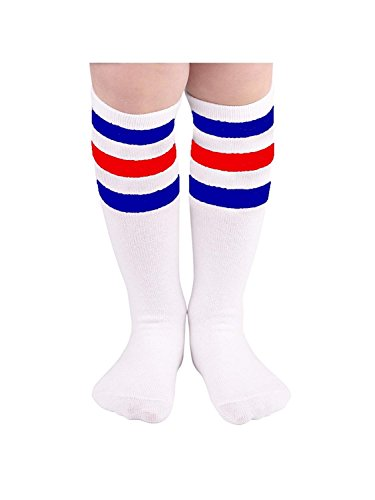 Durio Girls Thigh High Socks Knit Knee High Socks Striped Cosplay Tube Sock for Kid Boys Stockings Leg Warmers 1 Pack White w Blue w Red One Size -