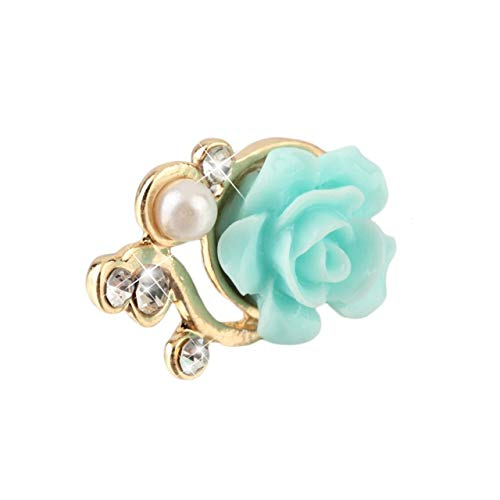 shengerm Universal Colorful Rose Flower 3D Crystal Bead Pearl Anti Dust Plug Charms for 3.5mm Mobile Phone Headphone Dust Cap (Phone Charm Under $1)