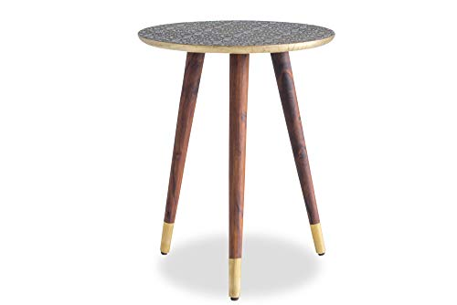 Edloe Finch Mira Mid-Century Modern Side End Table Solid Wood Legs with Brass Top Gold