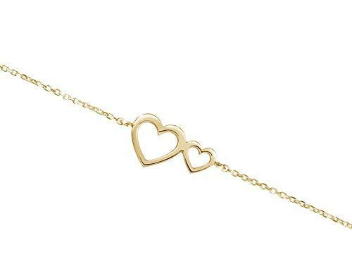 Double Heart Bracelet, 9K 14K 18K Yellow Gold, Gold Two-Heart Charm, Love Gift For Her, Romantic Bracelet/code: - Heart Bracelet 9k