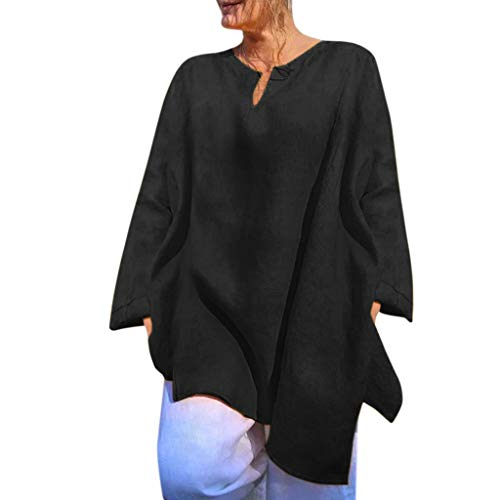 NCCIYAZ Womens Tunic Linen Long Sleeve V-Neck Solid Top Shirt Ladies Slouch Loose Blouse(XL(10),Black) ()