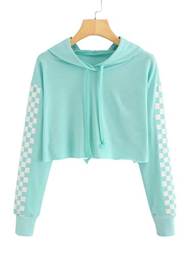 Hestenve Baby Girls Cute Crop Top Hoodie Plaid Cropped Sweatshirts Jumper for 4-12Years ()