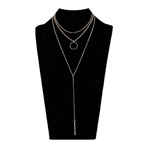 (XOCARTIGE Long Pendant Y Necklace Layered Choker Necklace Delicate Y Shape Crystal Bar Pendant Necklace for women)