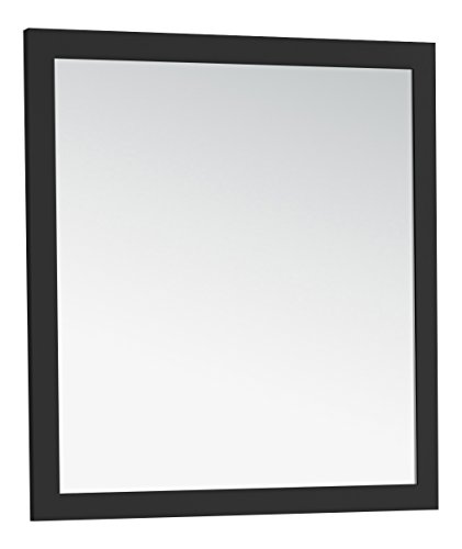 32 Bath Vanity - Simpli Home NL-ROSSEAU-ES-M-3A-3234 Chelsea 32 inch x 34 inch Bath Vanity Décor mirror in Black
