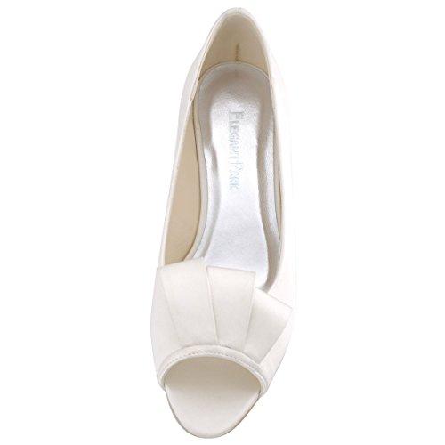ElegantPark WP1518 Escarpins Femme satin talon compense bout ouvert Chaussures de mariee mariage Ivoire E1Kza9U
