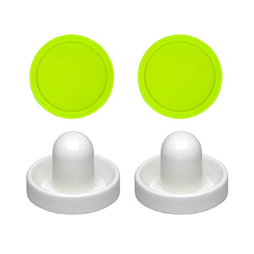 2 Commercial Hockey Fluorescent White Goalies with 2 Large Green Air Pucks (Air Hockey Table Glow In The Dark)