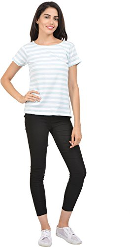 Urban Rebels Casual Short Sleeve Striped Women Blue, White Top