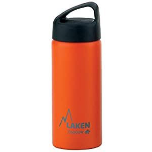 Laken Thermo Classic Vacuum Insulated Stainless Steel Wide Mouth Water Bottle with Screw Cap, 17 Oz, Orange