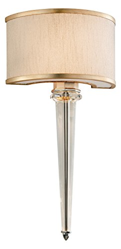 Tranquility Silver Harlow 2 Light Wall Sconce with Hand Crafted Iron Frame and Hardback Ivory Ice Shade and LED Accent Lights ()
