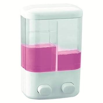 Takestop® - Dispensador, dosificador con doble compartimento para jabón, champú, acondicionador, de pared con tornillos de montaje: Amazon.es: Electrónica