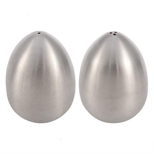 (Toothpick Dispenser, 2 Pack Stainless Steel Toothpick Holder Dispensers Creative Egg Shape Kitchen Pepper Shaker Spice Container Salt Storage 1 Hole and 3 Hole)