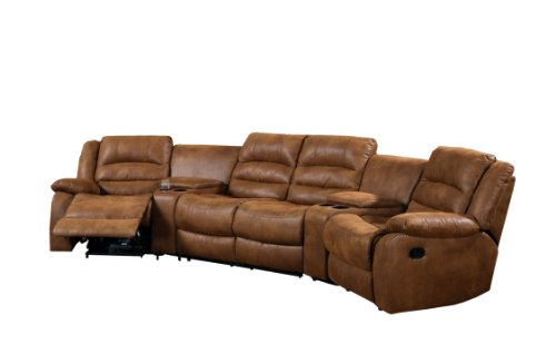 Reclining Sectional Recliner Sofa - Furniture of America Camden 4-Piece Sectional Sofa with Recliners and Built-In Drink Holders, Caramel