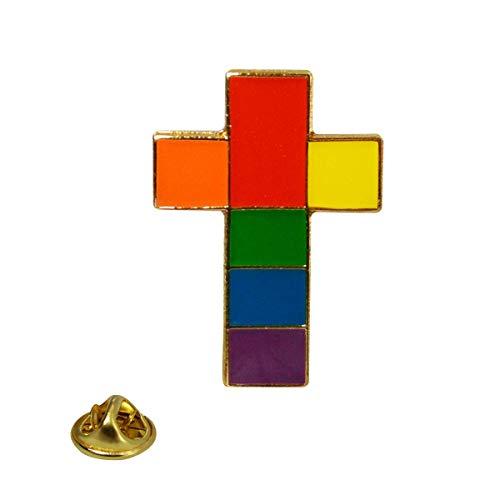 Rainbow Cross Lapel Pin]()