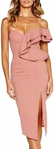 9cfd6c365a8 ECOWISH Women s Dresses Sexy Ruffle One Shoulder Sleeveless Split Bodycon  Midi Party Dress