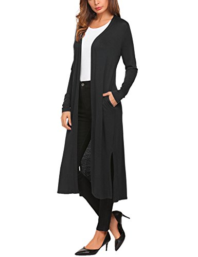 Beyove Women's Casual Open Front Long Sleeve Cardigan with Pocket Black XXL (Boots Sweater Dresses)