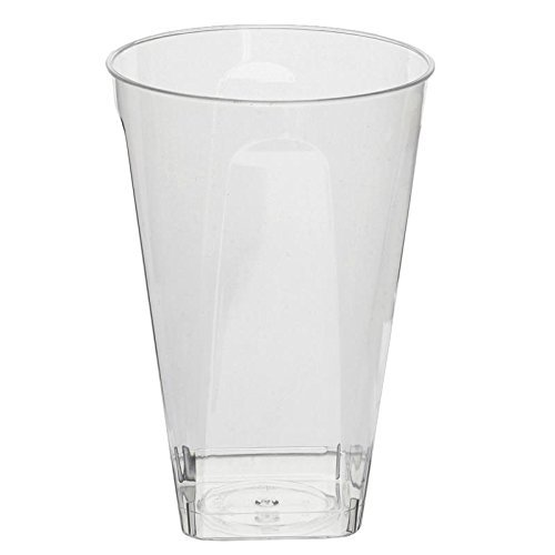 BalsaCircle 36 pcs 10 oz Clear Plastic Square Bottom Tumblers Cups - Disposable Wedding Party Catering - Clear Glasses Bottom