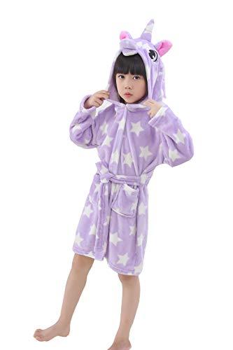 Hanax Kid Bathrobe Unicorn Flannel Ultra Soft Plush Comfy Hooded Nightgown Homewear -