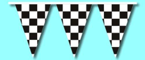 Pennant Shaped Flag - Checkered Race Track V-Shaped Pennants 100' String (Black/White)