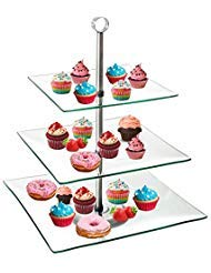 TJB 3 Tier Serving Tray Platters, Appetizer or Dessert Cupcakes And Cake Stand - Centerpiece For Weddings, Tea Party, Holiday Dinners, or Birthday Parties (Square 3 Tier) -