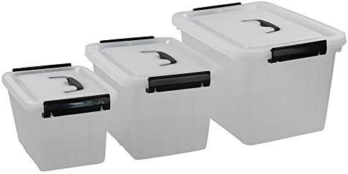 Wekiog Plastic Storage Bins for Multiuses/Clear Latching Box (12Qt, 6Qt, 3.5Qt)