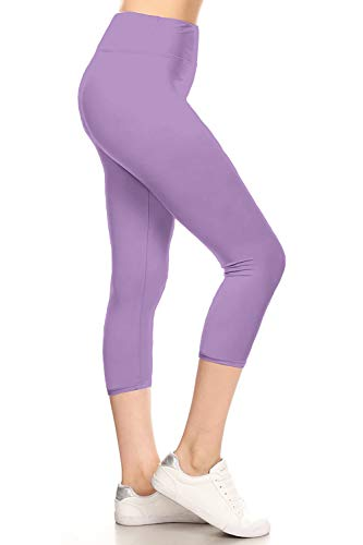 LYCPR128-LILAC Yoga Capri Solid Leggings, One Size