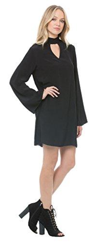 Elan Hi Neck Medium Black Dress/Tunic with Keyhole