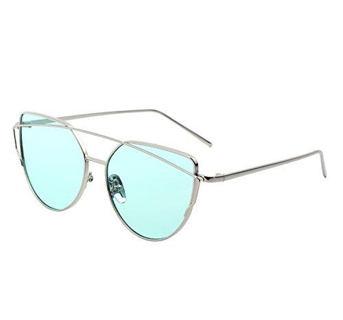 YANQIUYU Stylish Metal Frame Cat Eye Sunglasses for Women Mirrored Flat Lens (Transparent Green Lens/Silver Frame, - Fashion Glasses Korean