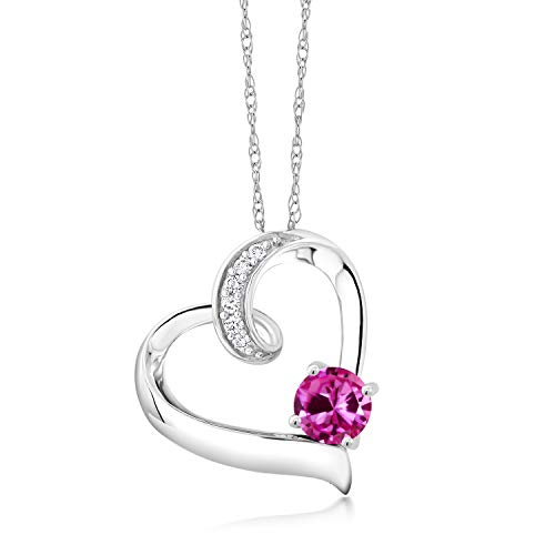 (Gem Stone King 0.58 Ct Pink Created Sapphire G/H Lab Grown Diamond 10K White Gold Necklace)