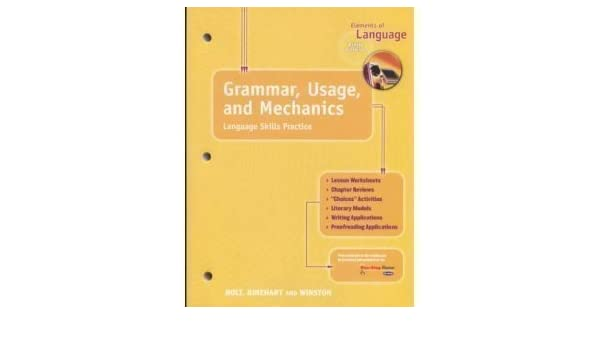 Elements of Language, 5th Course, Grade 11 Grammar, Usage and ...