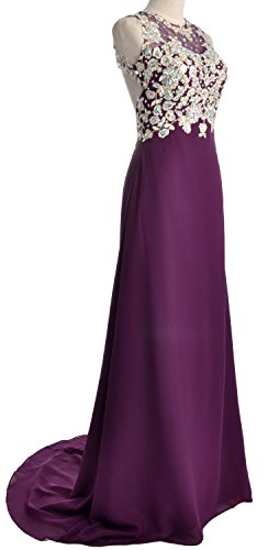 MACloth Women O Neck Gold Lace Chiffon Long Prom Dress Formal Party Evening Gown Morado