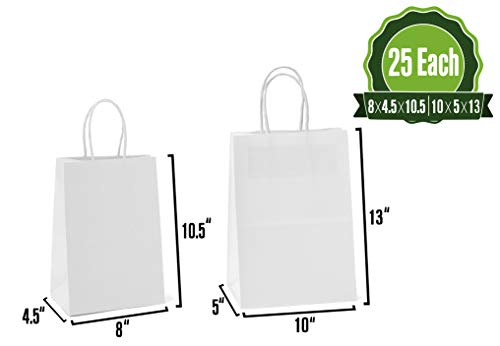 - White Kraft Paper Gift Bags with Handles, 25 Pcs Each 8x4.5x10 & 10x5x13 Shopping, Packaging, Retail, Party, Craft, Gifts, Wedding, Recycled Merchandise Bag