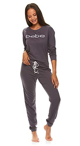 bebe Womens Cuffed Long Sleeve Shirt and Skinny Lounge Pajama Pants Sleep Set Midnight Lavender Large from bebe
