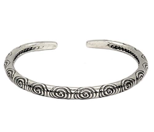 Sterling Silver Handmade Boho Thick Cuff Bracelet Adjustable Solid Silver With Ethnic Spirals Engravings for Women or Men