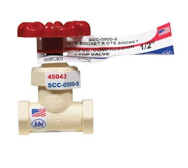 King Brothers Inc. SCC-0500-S 1/2-Inch Compression PXL CPVC Stop Valve, Tan